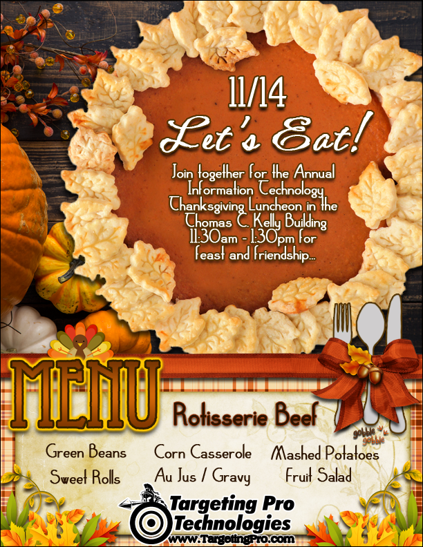 Graphic Design Event Seasonal Holiday Thanksgiving Invitation Menu Services