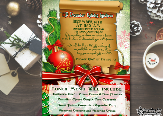 Holiday Christmas Restaurant Menu Event Planning Marketing Campaign
