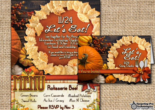 Holiday Thanksgiving Invitation Graphic Design Services